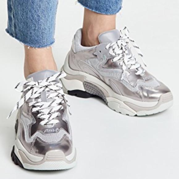 Ash Addict Dad Sneaker Silver Size